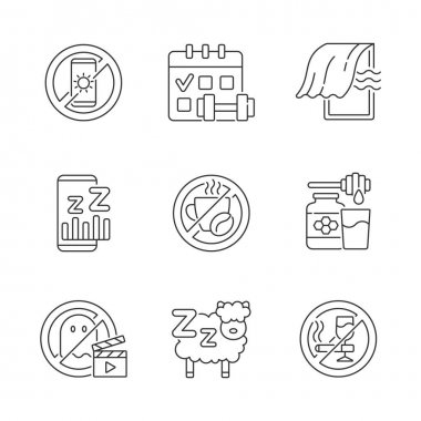 Insomnia reasons linear icons set. No device before bedtime. Sleep hygiene improvement. Regular exercise. Customizable thin line contour symbols. Isolated vector outline illustrations. Editable stroke icon