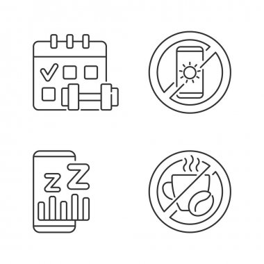 Recommendations to prevent insomnia linear icons set. Regular exercise, physical activity schedule. Customizable thin line contour symbols. Isolated vector outline illustrations. Editable stroke icon
