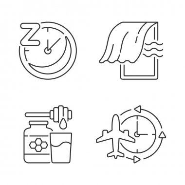 Recommendations to improve sleep linear icons set. Sleep hygiene and regularity. Bedroom airing. Customizable thin line contour symbols. Isolated vector outline illustrations. Editable stroke icon