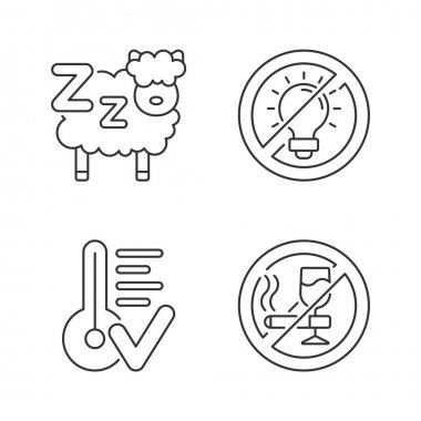 Sleep hygiene linear icons set. Counting sheeps before bedtime. No brightness. Comfortable temperature. Customizable thin line contour symbols. Isolated vector outline illustrations. Editable stroke icon