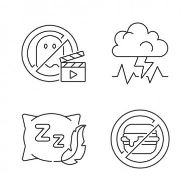 Causes for bad sleep linear icons set. No horror movie. Stress and anxiety. Comfortable pillow. Customizable thin line contour symbols. Isolated vector outline illustrations. Editable stroke icon