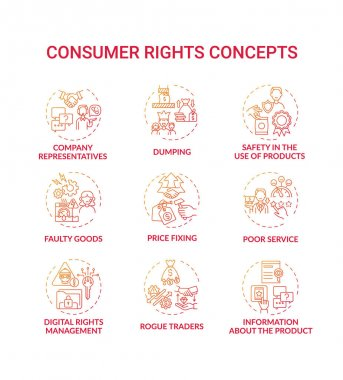 Consumer rights concept icons set. Safety in products use idea thin line RGB color illustrations. Digital rights management. Dumping. Poor service. Rogue traders. Vector isolated outline drawings icon