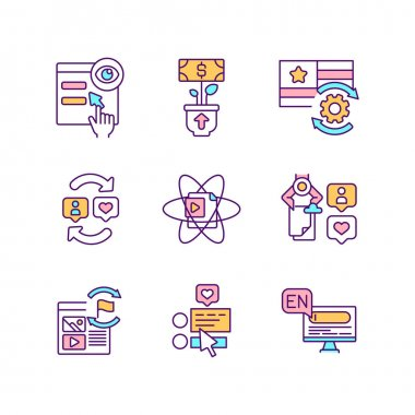 Smart content RGB color icons set. Social media engagement improvement strategy. Digital marketing. Software optimization. Target audience research. Boost ROI. Isolated vector illustrations icon