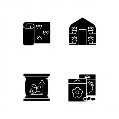 Gardening store categories black glyph icons set on white space. Greenhouses for growing plants during cold year period. Sod rolls for fields. Silhouette symbols. Vector isolated illustration icon