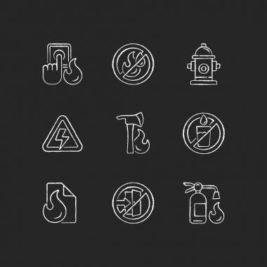 Fire emergency chalk white icons set on black background. Alarm button. High voltage. Use no water. Fire blanket, extinguisher. Do not enter. Isolated vector chalkboard illustrations icon