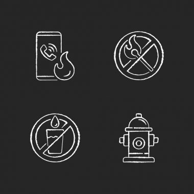Emergency instructions for fire safety chalk white icons set on black background. Call in case of emergency. No open flame. Not drinking water. Fire hydrant. Isolated vector chalkboard illustrations icon