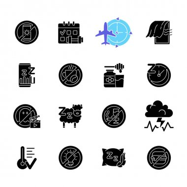 Insomnia causes black glyph icons set on white space. Reasons for bad sleep. Avoid sleeplessness. No caffeine. Healthy diet. Regular exercise. Silhouette symbols. Vector isolated illustration icon
