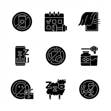 Insomnia reasons black glyph icons set on white space. No device before bedtime. Sleep hygiene. Regular exercise. No caffeine, milk and honey. Silhouette symbols. Vector isolated illustration icon