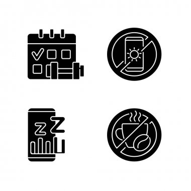Recommendations to prevent insomnia black glyph icons set on white space. Physical activity schedule. Sleep phase app for smartphone. No caffeine. Silhouette symbols. Vector isolated illustration icon
