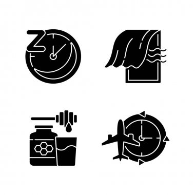 Recommendations to improve sleep black glyph icons set on white space. Sleep hygiene, regularity. Bedroom airing. Milk and honey. Jet lag, time zone. Silhouette symbols. Vector isolated illustration icon