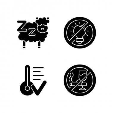 Sleep hygiene black glyph icons set on white space. Counting sheeps before bedtime. Comfortable temperature. No alcohol and cigarettes before sleep. Silhouette symbols. Vector isolated illustration icon
