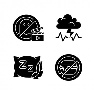 Causes for bad sleep black glyph icons set on white space. No horror movie. Stress, anxiety. Comfortable pillow. No junk food. Avoid unhealthy habits. Silhouette symbols. Vector isolated illustration icon