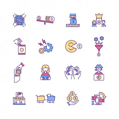 Trade RGB color icons set. Anti-competitive behaviour. Product safety. Income inequality. Merger. Price compression. Monopoly. Retail business. Customer satisfaction. Isolated vector illustrations icon