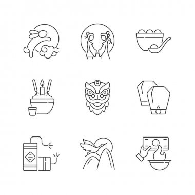 Chinese holidays linear icons set. Rabbits and moon. Chinese valentine day. Dumpling. Funeral tradition. Customizable thin line contour symbols. Isolated vector outline illustrations. Editable stroke icon