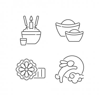 China national holidays linear icons set. Rice bowl. Gold ingots. Mooncakes. Moon hare. Wealth symbol. Customizable thin line contour symbols. Isolated vector outline illustrations. Editable stroke icon
