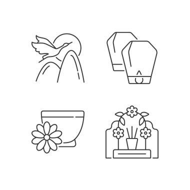 China national holidays linear icons set. Crane. Lantern festival. Chrysanthemum tea. Mythology. Customizable thin line contour symbols. Isolated vector outline illustrations. Editable stroke icon
