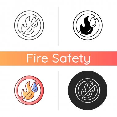 Use no water icon. Restriction for liquid supply label. Crossed sign. Fire safety regulation, emergency instructions. Linear black and RGB color styles. Isolated vector illustrations icon