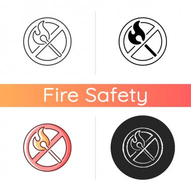 No open flame icon. Burning match, restriction label. Sign for forbidden usage. Fire safety regulation, emergency guidance. Linear black and RGB color styles. Isolated vector illustrations icon
