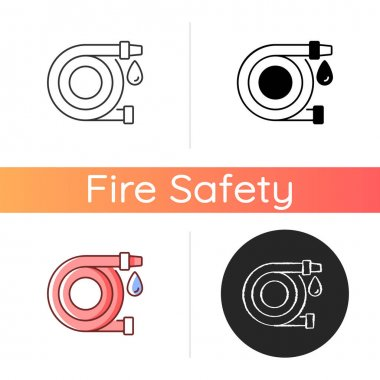 Fire hose icon. Equipment for putting out flames. Water supply for extinguishing. Firefighters rescue. Fire safety regulation. Linear black and RGB color styles. Isolated vector illustrations icon