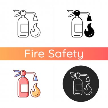 Fire extinguisher icon. Equipment to put out flames. Nozzle, hose for foam. Fire safety regulation. Industrial accident protection. Linear black and RGB color styles. Isolated vector illustrations icon