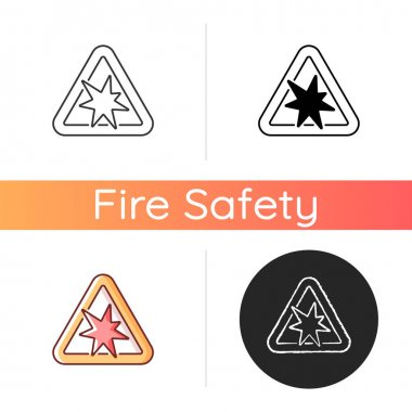 Risk of explosion icon. Warning label for dangerous manufacture. Security rules for chemical substance. Fire safety regulation. Linear black and RGB color styles. Isolated vector illustrations icon