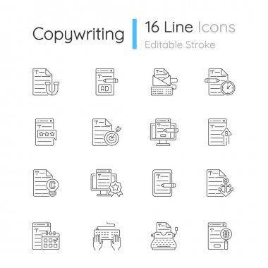 Copywriting linear icons set. Aiming at target audience. Professional copywriting. Website content. Customizable thin line contour symbols. Isolated vector outline illustrations. Editable stroke icon