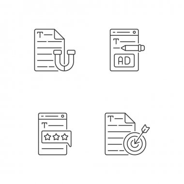 Engaging online content linear icons set. Appealing text. Writing ads for online marketing. Customizable thin line contour symbols. Isolated vector outline illustrations. Editable stroke icon