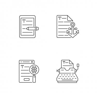 Copy writing linear icons set. E book editing services. Anchor text. SEO work, professional typewriting. Customizable thin line contour symbols. Isolated vector outline illustrations. Editable stroke icon
