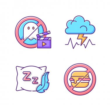 Causes for bad sleep RGB color icons set. No horror movie. Stress and anxiety. Comfortable pillow. No junk food. Insomnia prevention tips. Avoid unhealthy habits. Isolated vector illustrations icon