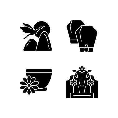 China national holidays black glyph icons set on white space. Crane. Lantern festival. Chrysanthemum tea. Tomb sweeping day. Mythology and symbolism. Silhouette symbols. Vector isolated illustration icon