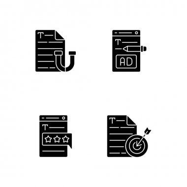Engaging online content black glyph icons set on white space. Writing ads for online marketing. Aiming at target audience. SEO work, journalism. Silhouette symbols. Vector isolated illustration icon