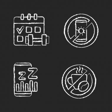 Recommendations to prevent insomnia chalk white icons set on black background. Regular exercise, physical activity schedule. No devices. No caffeine. Isolated vector chalkboard illustrations icon