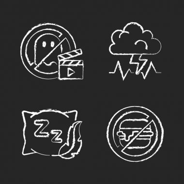 Causes for bad sleep chalk white icons set on black background. No horror movie. Stress, anxiety. Comfortable pillow. No junk food. Insomnia prevention tips. Isolated vector chalkboard illustrations icon