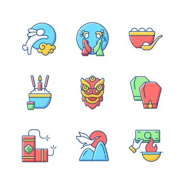 Chinese holidays RGB color icons set. Rabbits and moon. Chinese valentine day. Dumpling. Funeral tradition. Dragon dance. Lantern fest. Fireworks. Burning money. Cranes. Isolated vector illustrations icon