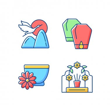 China national holidays RGB color icons set. Crane. Lantern festival. Chrysanthemum tea. Tomb sweeping day. Mythology and symbolism. Honouring deceased ancestors. Isolated vector illustrations icon
