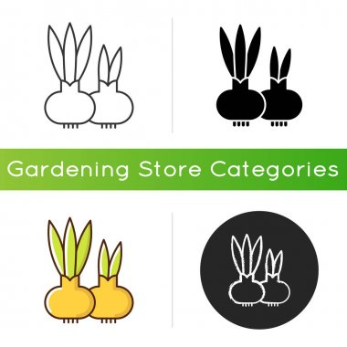 Flower bulbs icon. Short stem with fleshy leaves or leaf bases that function as food storage organs during dormancy. Linear black and RGB color styles. Isolated vector illustrations icon