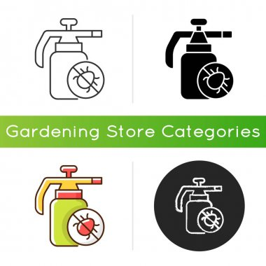 Pesticides icon. Substances that are meant to control pests. Protecting farm and garden from insects damaging. Linear black and RGB color styles. Isolated vector illustrations icon