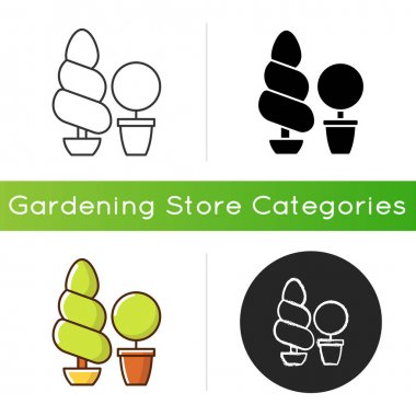 Topiaries and evergreens icon. Horticultural practice of training perennial plants by clipping foliage and twigs of trees. Linear black and RGB color styles. Isolated vector illustrations icon