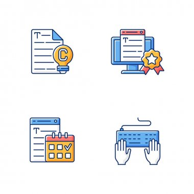 SEO text RGB color icons set. Original engaging content. Professional copywriting services. Meeting deadlines. Keyboard typewriting. Write text. Professional journalist. Isolated vector illustrations icon