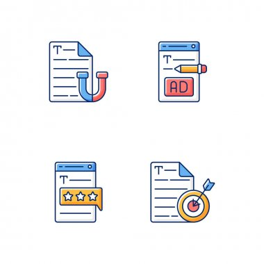 Engaging online content RGB color icons set. Appealing text. Writing ads for online marketing. Recognized by clients. Aiming at target audience. SEO work, journalism. Isolated vector illustrations icon