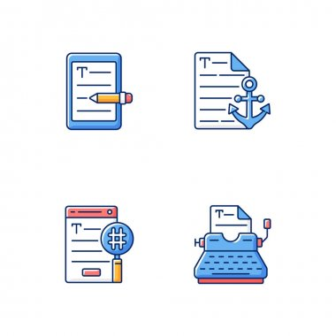 Copy writing RGB color icons set. E book editing services. Anchor text. SEO work, professional typewriting. Journalism for e commerce. Writing commercial text. Isolated vector illustrations icon