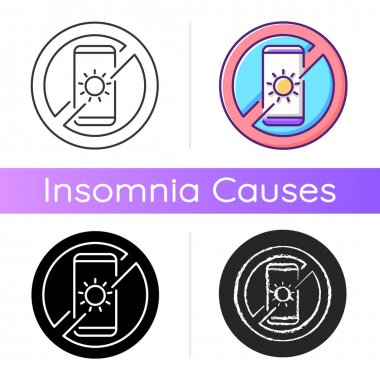 No devices icon. Digital detox. Avoid bright mobile screen before bedtime. Limit smartphone use. Recommendation to prevent insomnia. Linear black and RGB color styles. Isolated vector illustrations icon