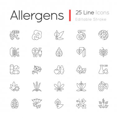 Allergy cause linear icons set. Queen Anne lace. Timothy grass. English plantain. Sesame seeds. Customizable thin line contour symbols. Isolated vector outline illustrations. Editable stroke icon