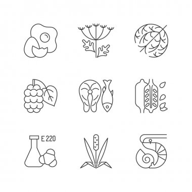 Allergy danger linear icons set. Queen Anne lace. Dry tumbleweed. Timothy grass. Chemical sulphites. Customizable thin line contour symbols. Isolated vector outline illustrations. Editable stroke icon