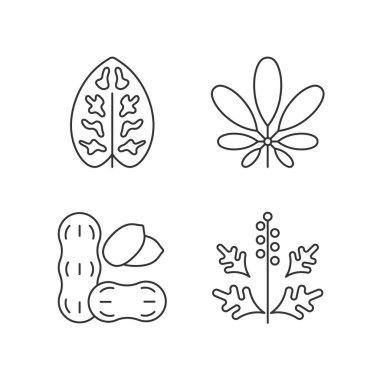 Reason for allergy linear icons set. Dieffenbachia, schefflera pollen. Cause of allergic reaction. Customizable thin line contour symbols. Isolated vector outline illustrations. Editable stroke icon