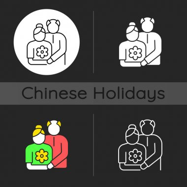 Old couple dark theme icon. Honor senior citizens day. Double ninth festival. Organizing outings for retirees. Linear white, simple glyph and RGB color styles. Isolated vector illustrations icon