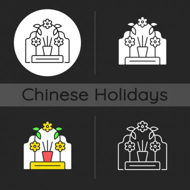Tomb sweeping day dark theme icon. Qingming festival. Chinese memorial day. Pomegranate and willow branches. Linear white, simple glyph and RGB color styles. Isolated vector illustrations icon