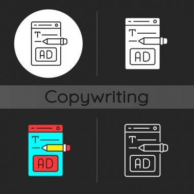 Writing text ads dark theme icon. Copywriting services for e commerce. Engaging content for online marketing. SEO work. Linear white, simple glyph and RGB color styles. Isolated vector illustrations icon