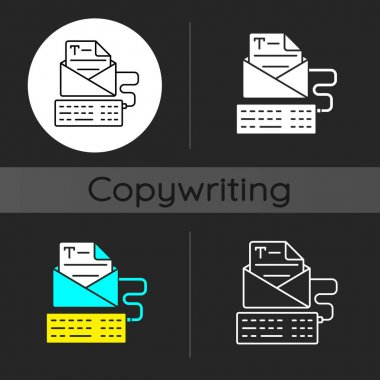 Newsletter copywriting dark theme icon. Copywriting services. Typing with keyboard. Writing text. Report publication. Linear white, simple glyph and RGB color styles. Isolated vector illustrations icon