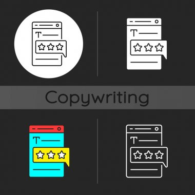 Recognized by clients dark theme icon. User satisfaction. Customer experience from quality copywriting services. Linear white, simple glyph and RGB color styles. Isolated vector illustrations icon